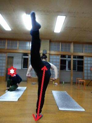 中心から分ける前後開脚は無理のない肋骨の形を意識して3